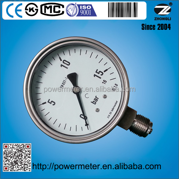 4inch 100mm 16 bar pressure gauge all stainless steel construction 1/2NPT