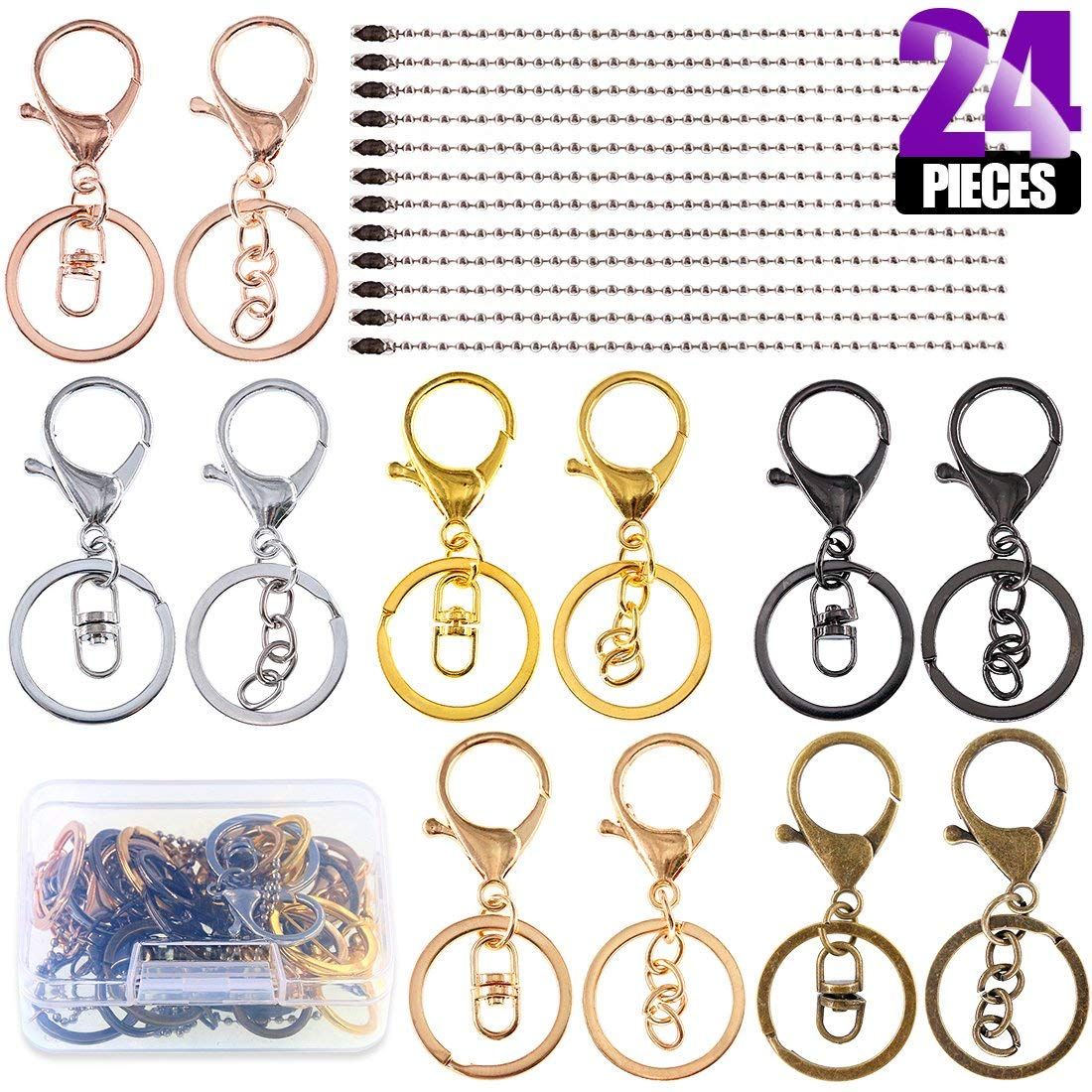 Swpeet 24Pcs Jewelry Making Kit, Including 12Pcs Assorted Colors Lobster Clasps Keychain with 12Pcs Ball Chain Necklace, Swivel Lanyards Snap Hooks Lobster Clasps for Jewelry Making
