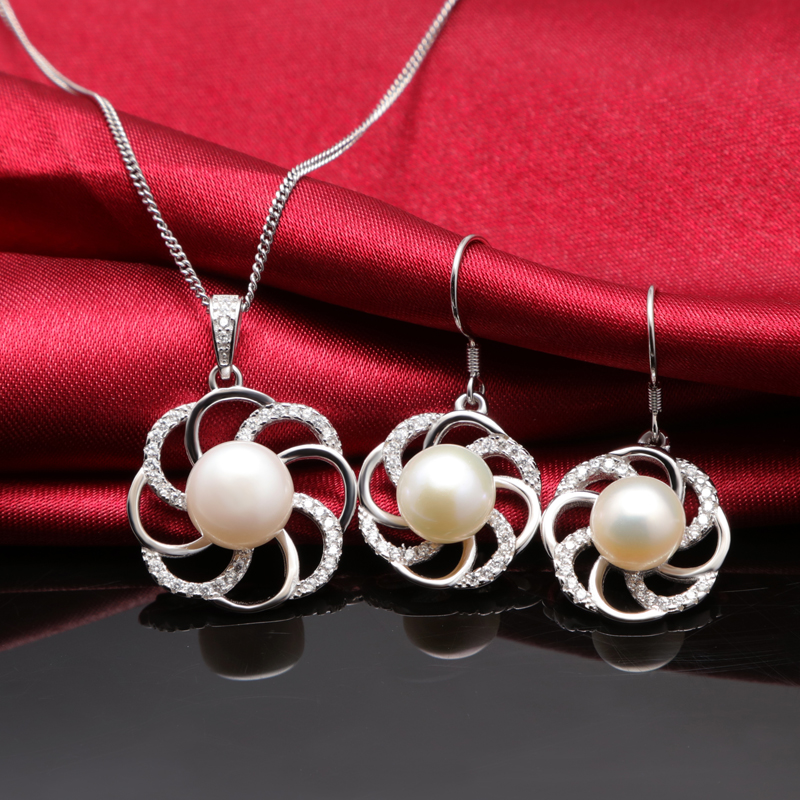 wholesale round lace shap freshwater pearl jewelry set for lady