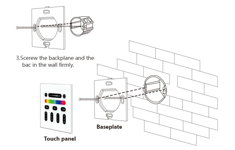 2.4G RF 4 -Zone Touch Panel Remote Control Outdoor rgbw led light Wall touch panel for all 2.4g rf rgb rgbw led light