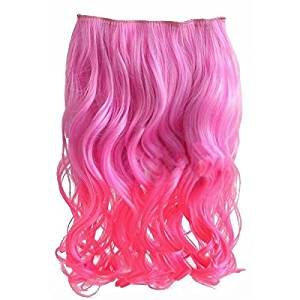 "Curly Hair Extensions - TOOGOO(R) 20"" Two Colors Mixed Dip-dye Color Curly Clip in Hair Extension for Dreamlike Girls (Color: Light-pink + Pink)"
