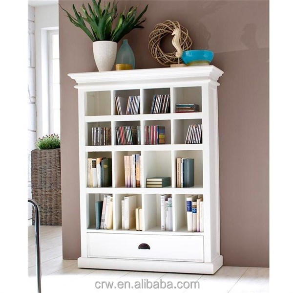 WH-4051 White Painted Solid Wood Bookcase with Drawer