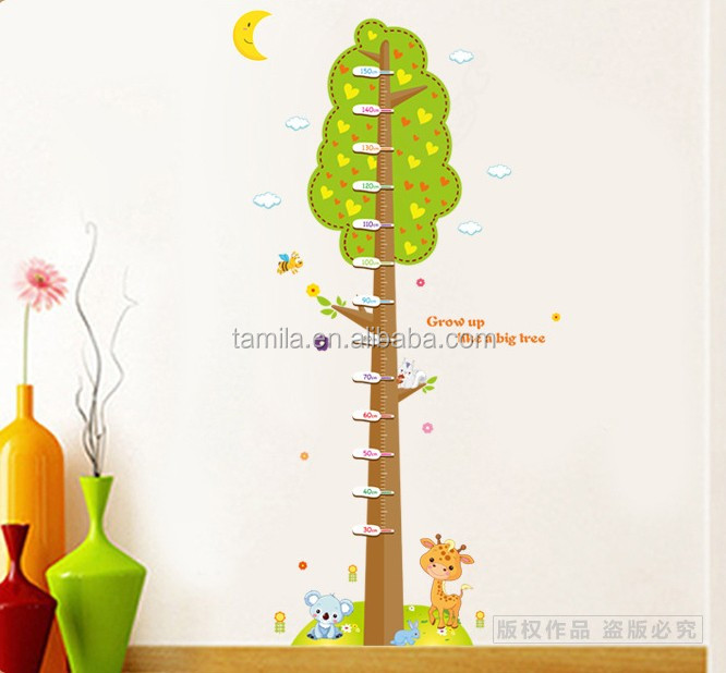 Height measurement wall stickers Tree Removable Growth Chart paper sticker Children Room Decor wall decal plastic Wall Sticker
