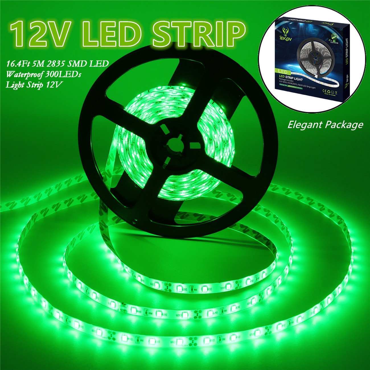 Led Strip Lights, IEKOV™ 2835 SMD 300LEDs Waterproof Flexible Xmas Decorative Lighting Strips, LED Tape, 5M 16.4Ft DC12V, 2 times brightness than SMD 3528 LED Light Strip (Green)