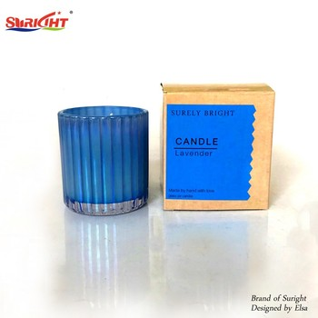 Suright New Design 1pc Gift Box  Pearlescent Glow Painting Glass Tumbler Scented Soy Wax Candle
