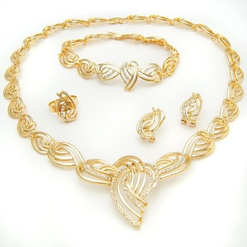 New Design African Bridal Gold Plated Necklace Jewelry Sets China