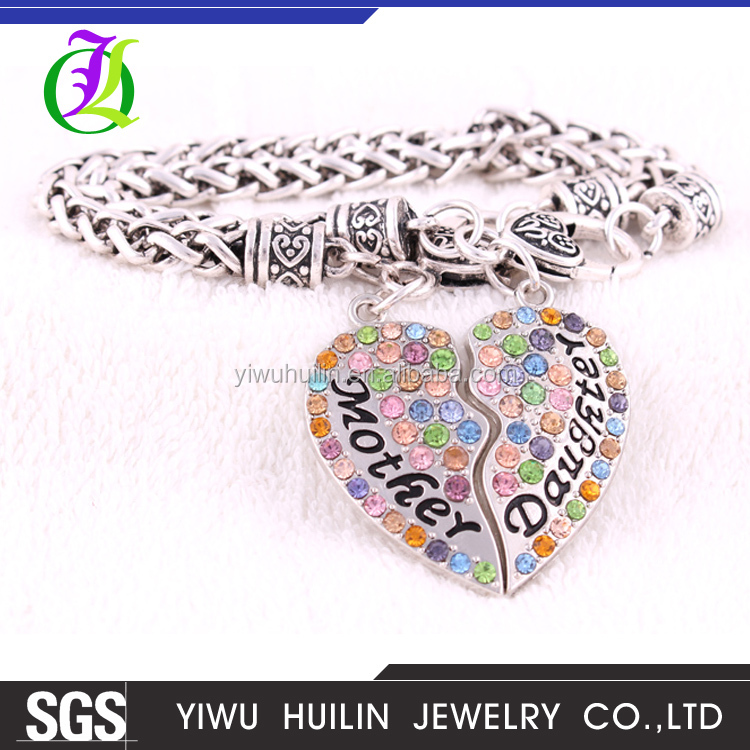 B500100 Yiwu Huilin Jewelry Fashion family crystal doughter mother heart fashion brass bracelet