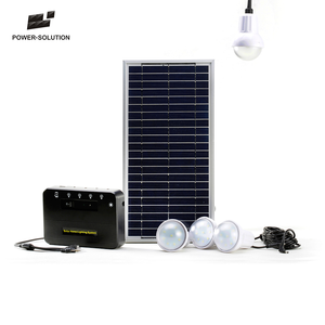 Solar power kit for home lighting with 4 pcs 2W bulbs and phone charger