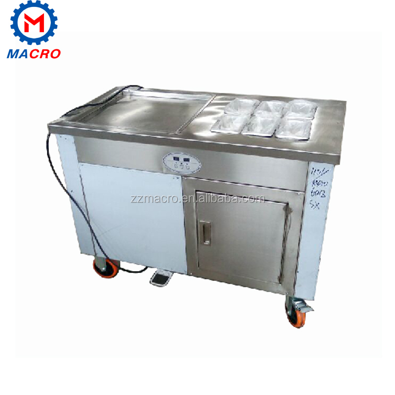 2017 New Design Double Pan With The Cooling Barrels For Making The Ice Cream Roll,Mix,Ice Dessert