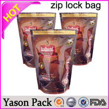 Yason hot clear zipper ag coffee bean colored standing bags with zipper blank silver aluminum foil bag with zipper
