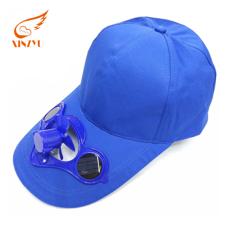 Promotional 6 Panel Solar Charger Blank Hat 100% Cotton Made Baseball Cap