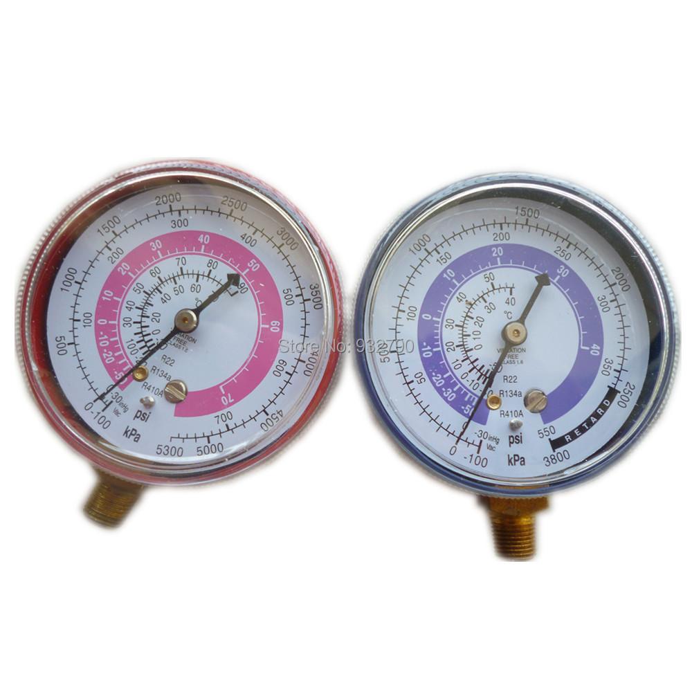 Wholesale-Pair Air Conditioner R410A R134A R22 Refrigerant Low&High  Pressure Gauge PSI KPA A/C Refrigeration Pressure Gauge Coolant