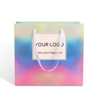 eco friendly fine craft holographic paperboard paper bag for shopping packaging with drawstring ribbon