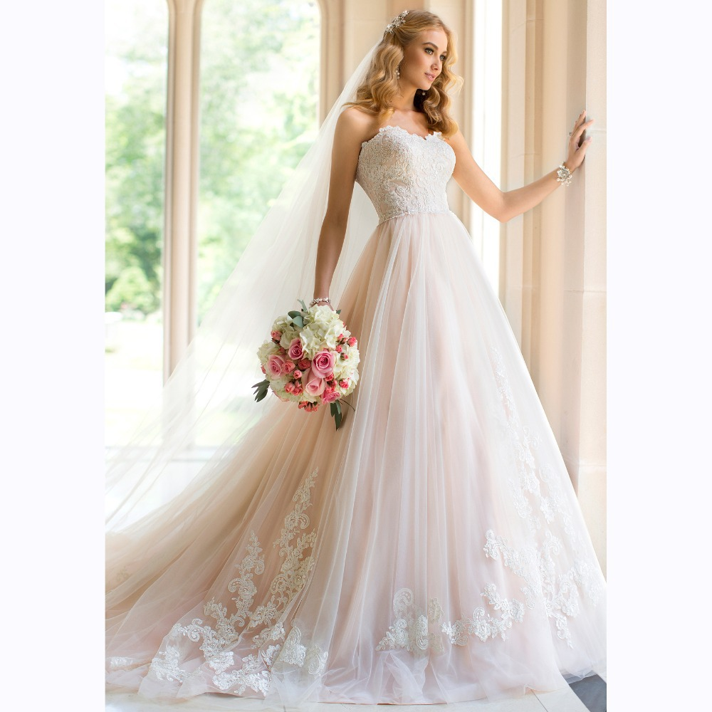 2015 New Fashion Graceful Sweetheart Off The Shoulder Ball Gown Lace Long Wedding Dress
