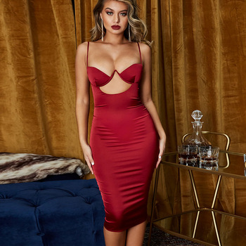 Ladies Sexy Satin Bodycon Cocktail Dress