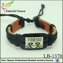 Personalized braided knit friend leather bracelet wholesale