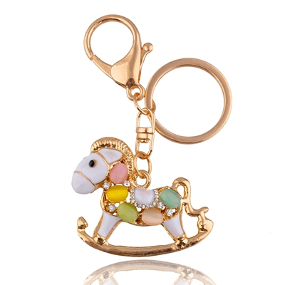 fashion promotional rhinestone horse shaped keychain