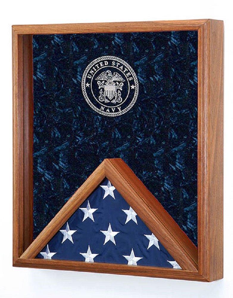 Military Flag & Medal Display Case - for 3'x5' Flag - Shadow Box- w/Laser Engraved Emblem (Navy engraved Emblem) more service emblems available