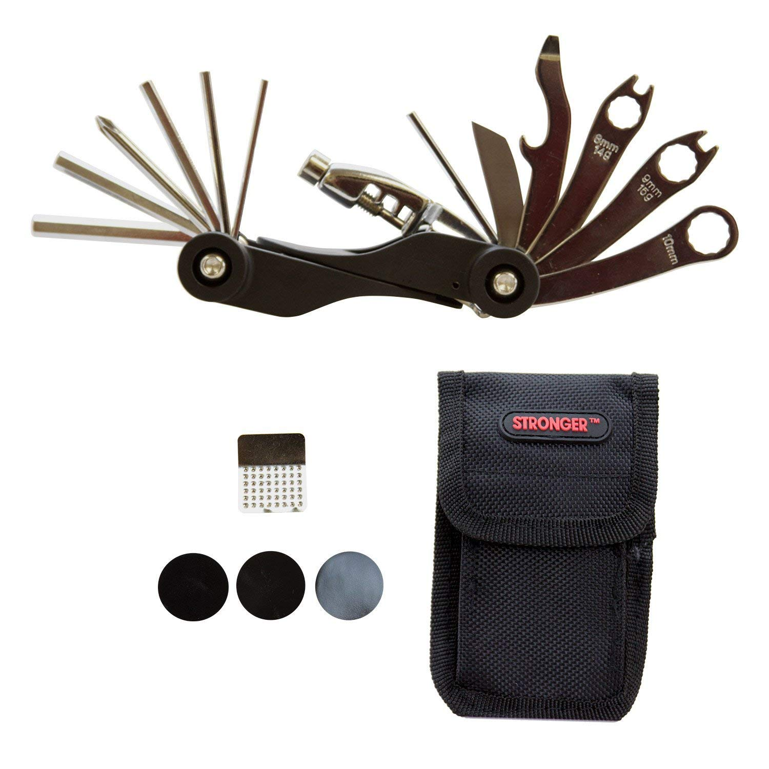 LB1 High Performance Bike Bicycle Multi-Tools (20 Functions) Repair Kit with Tire Patch, Tire Lever, Durable Nylon Bag Bicycle Cycling Maintenance Repair Tool Set - 12 Month Warranty