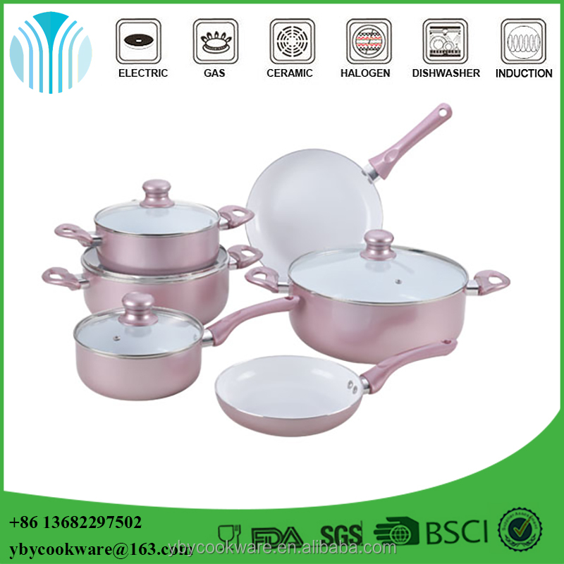 10PCS rose gold aluminium ceramic coating cookware <strong>set</strong> with bakelite handle