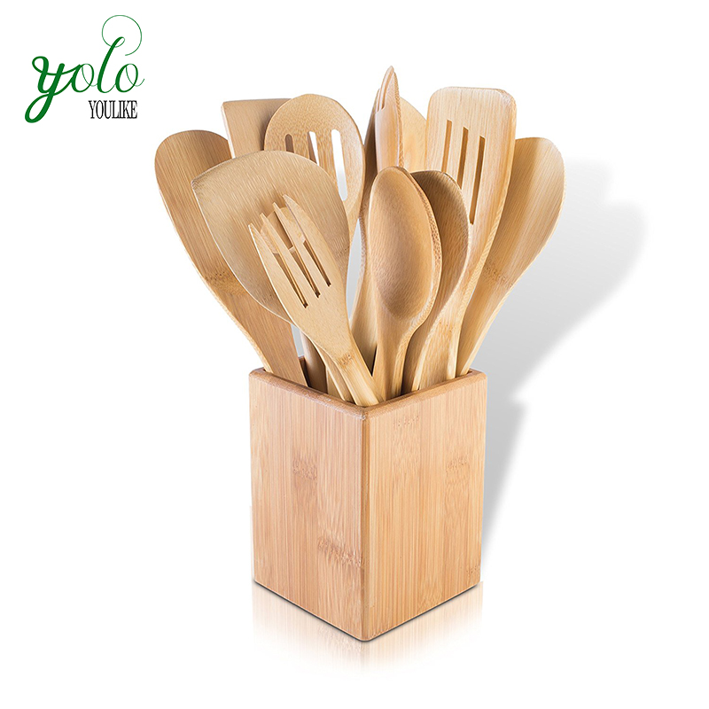 Kitchen Multi Use 11 Pieces Bamboo Utensils with Holder
