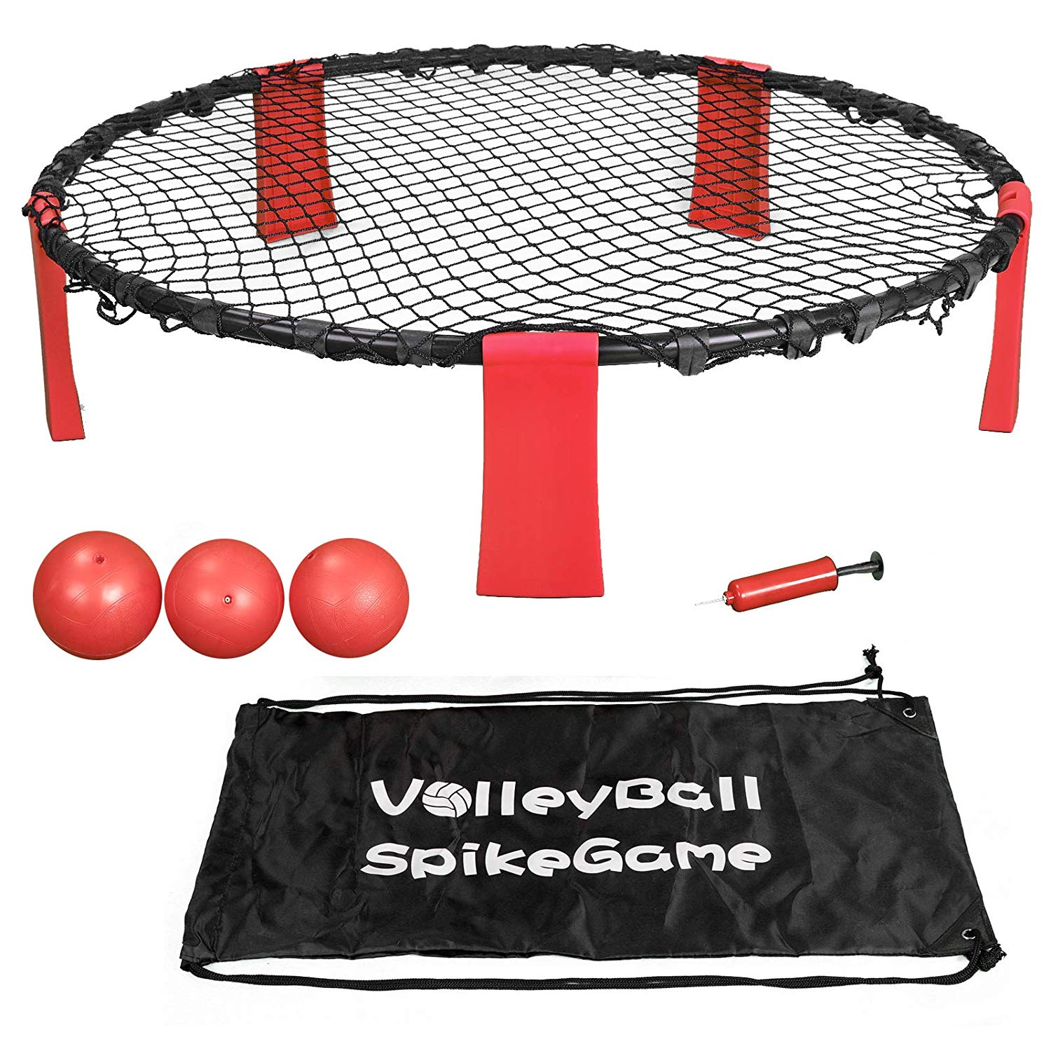 Smartxchoices Ball Spike Toss Game, Volleyball Battle Ball Game Set for Backyard, Party, Beach, Outdoor Lawn, Tailgates - Playing Net, 3 Balls, Drawstring Bag and Manual Included …