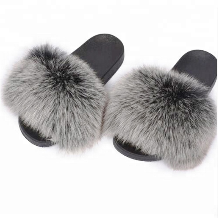 2018 hot selling Factory wholesale colorful slides real fox fur <strong>slippers</strong>
