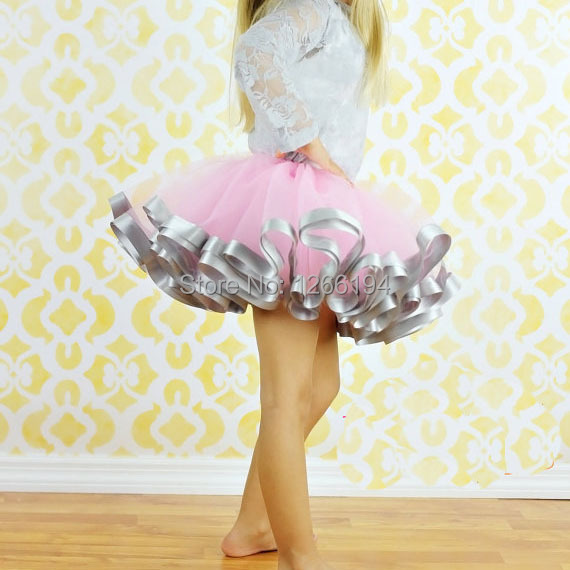 2016 Fashion girl Casual Chiffon Tutu Pink And Grey Ribbon Skirt Baby Girl Birthday Party Ball