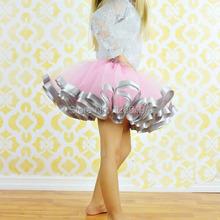 Satin Trim Tutu Pink And Grey Ribbon Trim Tutu Baby Girl Photo Prop Birthday Tutu Skirts Free Shipping