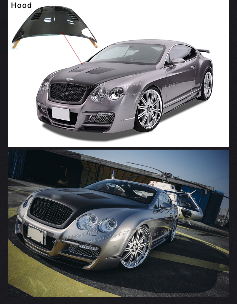 New design real carbon fiber front lip bumper bonnet car engine hood covers suitable for bentley