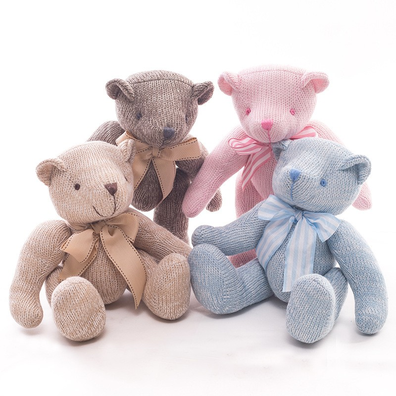 Hottest wholesale soft bear toy with printing knitted joint teddy bear