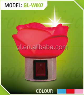 OEM 0.6W and 110V or 220V Rose shape LED mini switch plug in night light for kids bedroom
