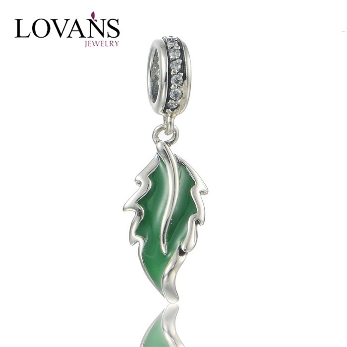 Sterling Silver Leaf Charms Green Enamel Silver Loose Beads