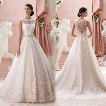 High Quality Elegant See Through Back Vintage Wedding Dress Lace ...