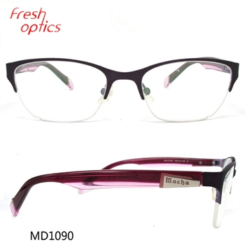 Md1090 Purple Stainless Steel Stylish Glasses Frame For Women - Buy ...