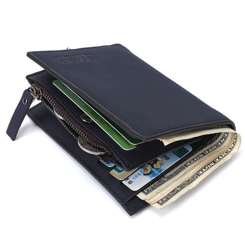 ba856f4490a86 Get Quotations · Genuine Leather Wallet Men Coin Pocket Zipper 2015 Fashion  Designer Brand Solid Men s Wallets Money Clip