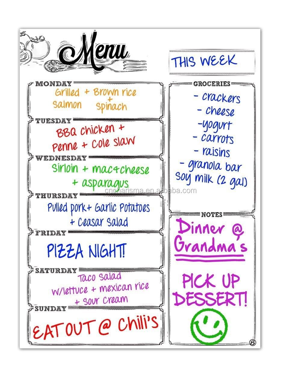 Weekly Menu Chalkboard Sticker Custom Sticker