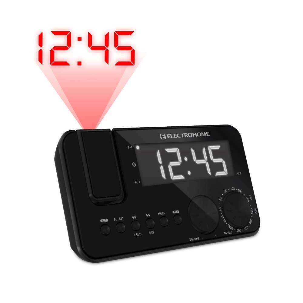 Get Quotations · Electrohome EAAC500US AM/FM Projection Clock Radio with  WakeUp! Battery Backup Alarm, Jumbo