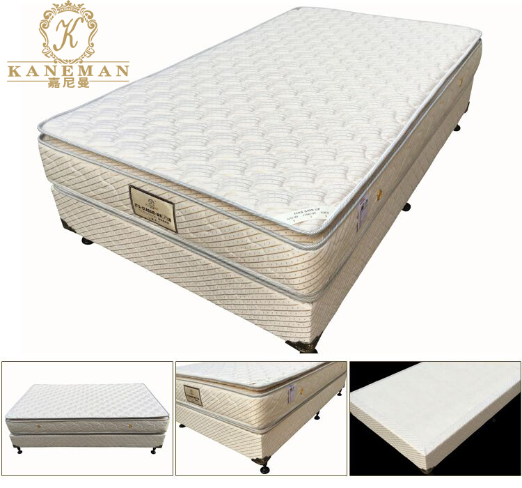 5 Star Hotel King Size Bed Base And Pillow Top Spring Mattress With