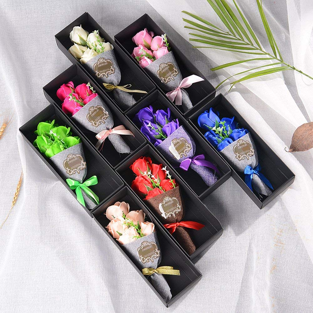 Gift Soap Flower Bouquet Soap Roses Bouquet 5pcs Bath Soap Rose Flower Bouquet+Greeting Card Holding Flower for Mother's Day/Wedding/Birthday (Random)
