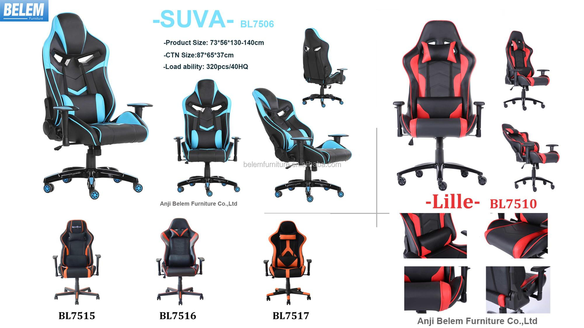 2018 Popular High Quality PU Game Racing Chair with Adjustable Armrest and High Gloss Base -SUVA- BL-7506