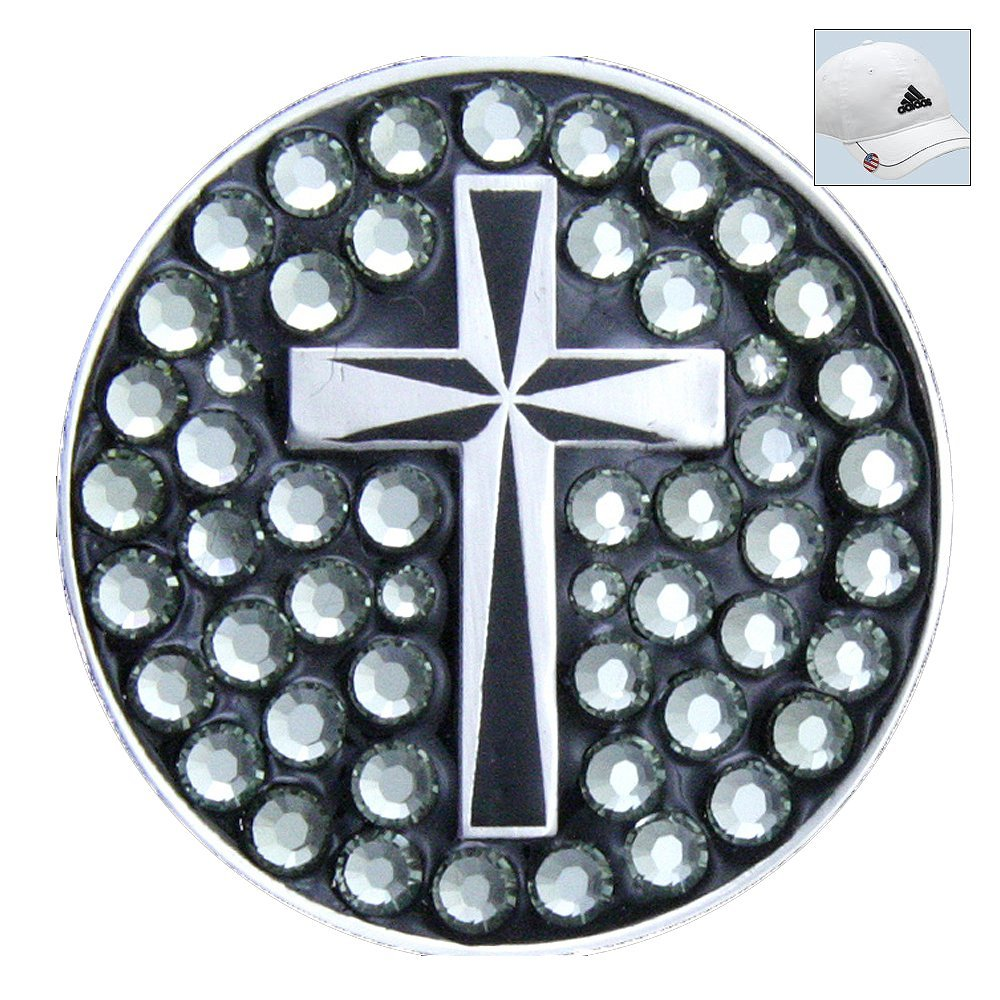 Bella Swarovski Crystal Golf Ball Marker & Hat Clip - Religious Cross - Black