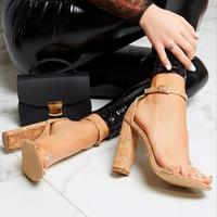 P0887 40 size high chunky heel sexy feet party ladies women fancy apricot summer shoes sandals