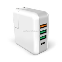 4 USB Wall Charger QC 3.0 Type C with Fodable Plug UK US Travel Charger