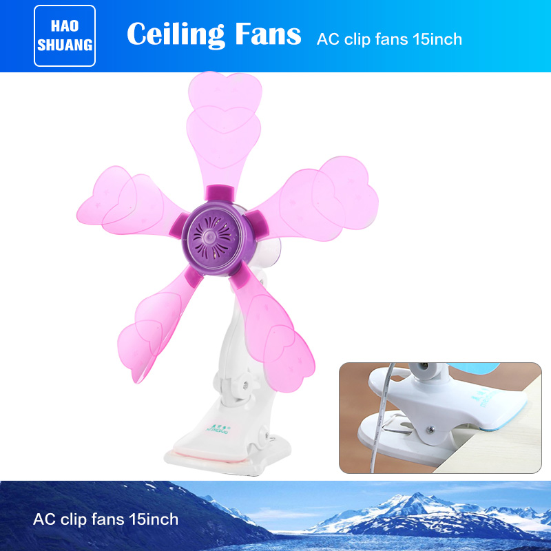 Fancy Pink Plastic Office Desk Wall Mount Clip Fan with 5 blades