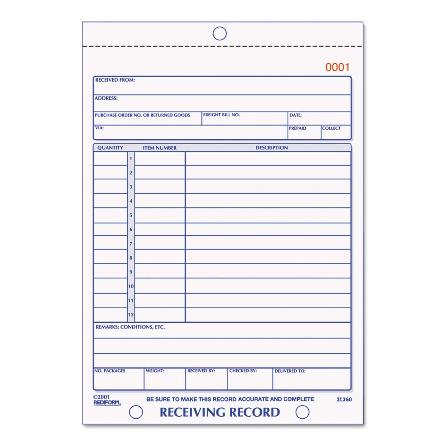 Receiving Record Book, 5 9/16 X 7 15/16, Three-Part Carbonless, 50 Sets/Book