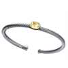 Fashion yellow stone cheap silver cable bracelet
