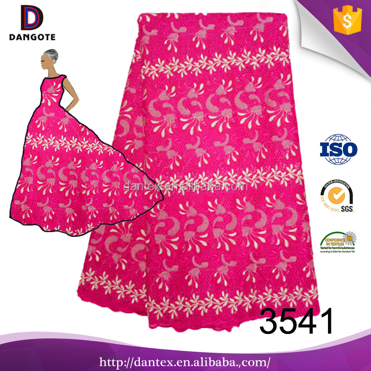Best Quality Swiss Voile Lace Wholesale Cotton African Cotton Fabric in fushia