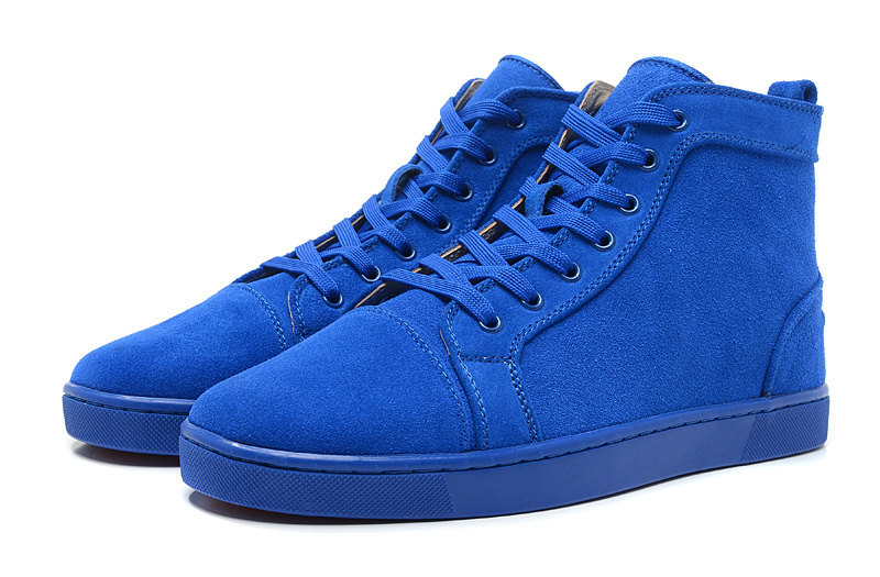 Free shipping original quality blue suede high top genuine leather shoes 2014 spring fashion new red bottoms mens sneakers
