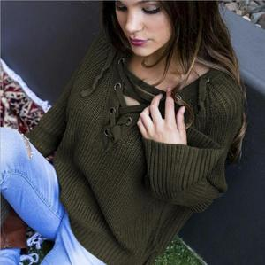 Women's Long Flare Sleeve Sweater Lace up High Low Knit V Neck Sweater